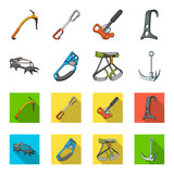 Hook, mountaineer harness, insurance and other equipment.Mountaineering set collection icons in cartoon,flat style vector symbol stock illustration web. - 197074062