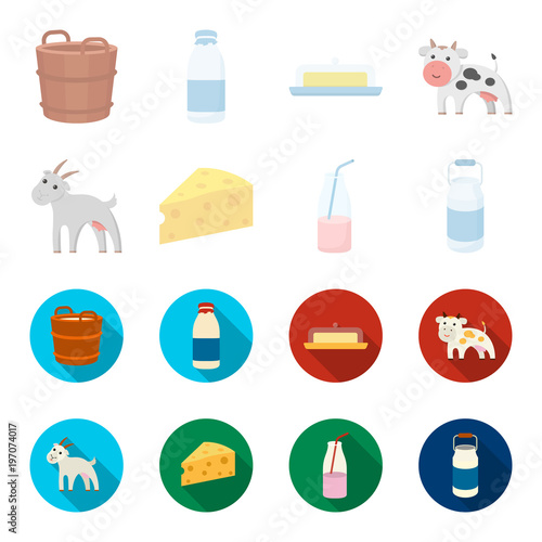 Goat, a piece of cheese and other products. Milk set collection icons in cartoon,flat style vector symbol stock illustration web.