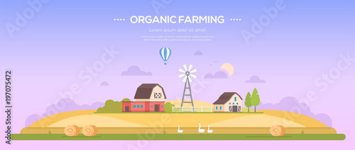Foto op Plexiglas Purper Organic farming - modern flat design style vector illustration