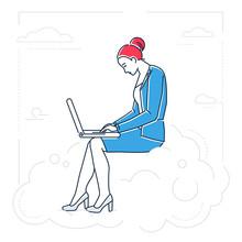 Businesswoman  A Notebook  Line Design Style  Illustration Sticker