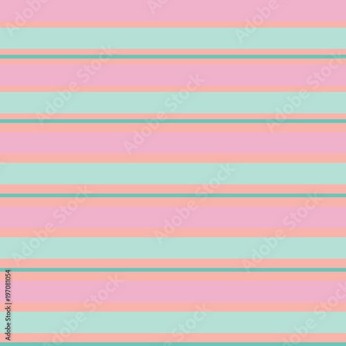 Materiał do szycia Seamless vector striped spring pattern with colored horizontal parallel stripes in pink, green, mint. Colorful pastel orange background.