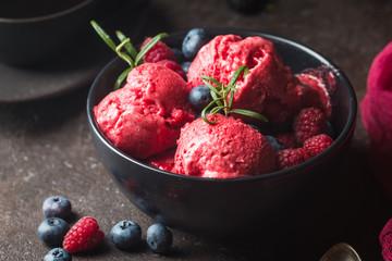 Homemade berry ice cream