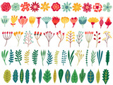 Vector floral set. Flower, blossom, leaf, herb isolated