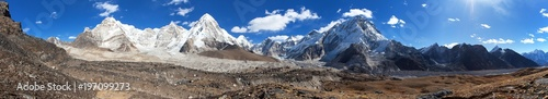 Panorama of mount Everest and Pumori