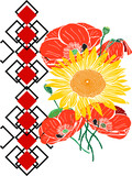 bouquet of sunflowers and red blossoming poppies