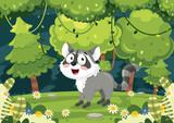 Vector Illustration Of Cartoon Raccoon