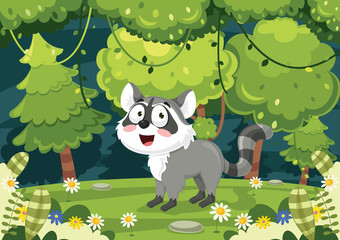 Vector Illustration Of Cartoon Raccoon © yusuf