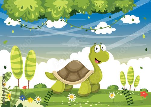 Fotobehang Pistache Vector Illustration Of Cartoon Turtle