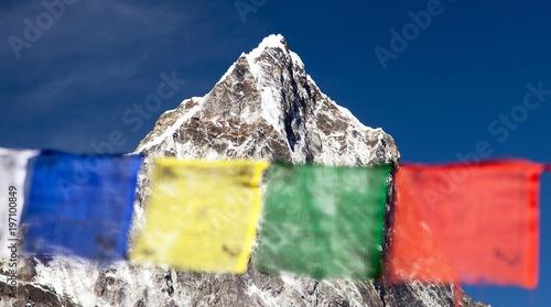 prayer flags and Nepal Himalayas mountains