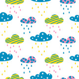 Rainy clouds seamless vector pattern.