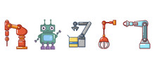 Robot Icon Set Cartoon Style Sticker