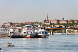 Buda Castle, FSt. Matthias church and Fishermen's Bastion viewed from Danube river - 197107675