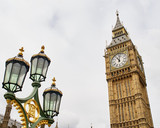 Fototapeta Big Ben - Big Ben and Lamppost, London, England © Benedictus