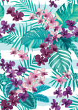 Tropical seamless pattern with colorful orchid flowers and palm leaves background. Vector set of exotic tropical garden for holiday invitations, greeting card and fashion design.