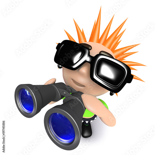 3d Funny cartoon punk kid character holding a pair of binoculars