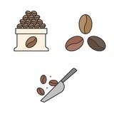 Brewed coffee and coffee roast icon set
