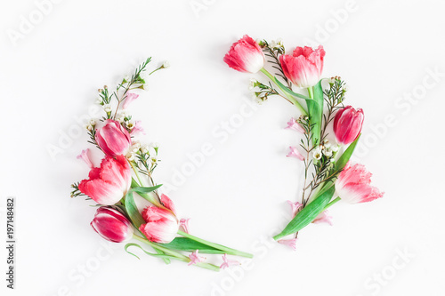 Flowers composition. Wreath made of pink tulip flowers on white background. Flat lay, top view, copy space - 197148482