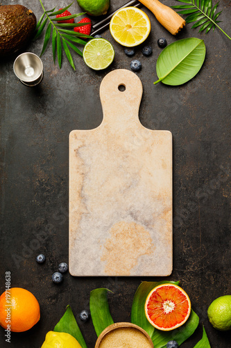 Marble cutting board, Cocktail making bar tools, tropical fruits - 197148638