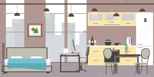 Empty Studio apartment with big windows