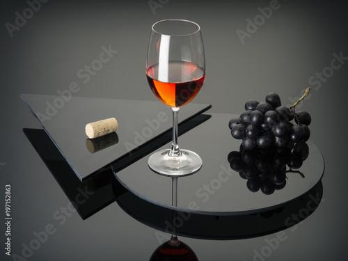 still life with red wine on dark glass
