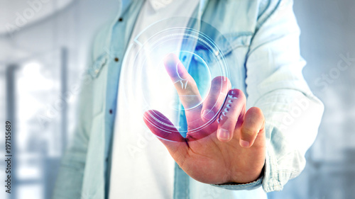 Businessman holding a Shinny technologic network contact button  - 3d render - 197155689
