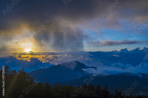 Plexiglas Nachtblauw Mountains during sunset. Beautiful natural landscape in the summer time