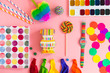 set of colorful objects ftal lay