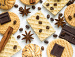 Assorted cookie anise star coffee cinnamon waffles