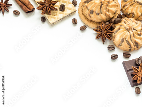 Assorted cookie wafer cinnamon coffee Frame on white. - 197166814