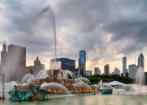 Poster Chicago Buckingham fountain in Grant Park, Chicago