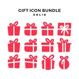 gift icon solid vector pack bundle download
