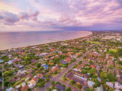 Foto op Plexiglas Purper Aerial view of Frankston suburb at sunset. Mornington Peninsula, Melbourne, Australia