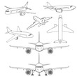 Vector Set of Sketch Hand Drawn Airplanes.