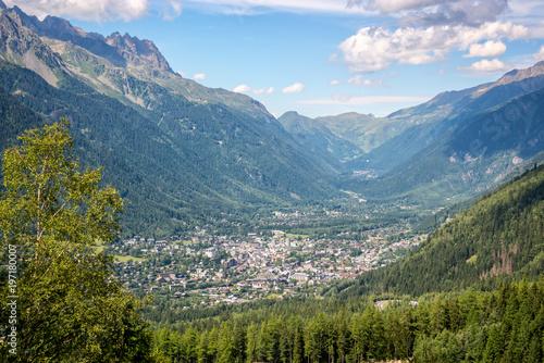 Fotobehang Blauwe hemel Aerial view on Chamonix valley in summer, Mont Blanc massif, The Alps, France