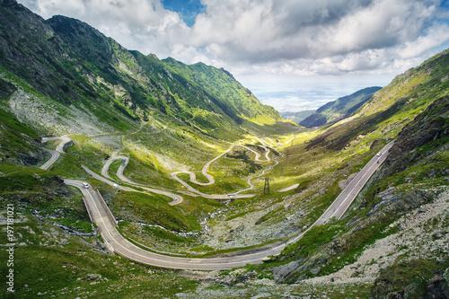 Transfagarasan pass in summer. Crossing Carpathian mountains in Romania