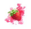 Strawberry on ink isolated over white background - 197181444