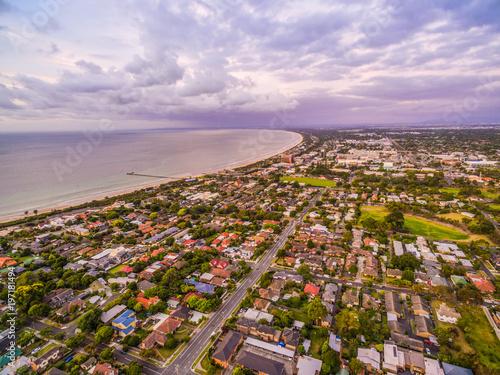 Foto op Canvas Purper Aerial view of coastal suburban area in Australia
