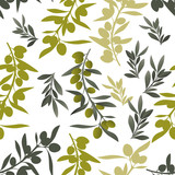 Seamless pattern of olive branches. Mediterranean culture symbol