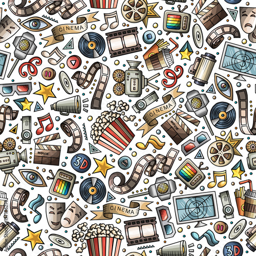 Cartoon cute hand drawn Cinema seamless pattern