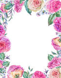 Watercolor vertical frame with english roses - 197189243