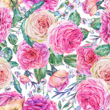 Nature seamless pattern with roses - 197190874