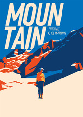 Extreme outdoor adventure poster. High mountains illustration. © labitase