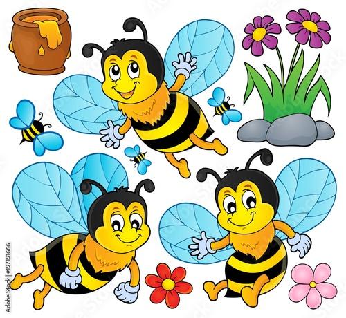 Poster Voor kinderen Happy spring bees theme set 1