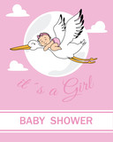 baby shower card.baby flying on top of a stork