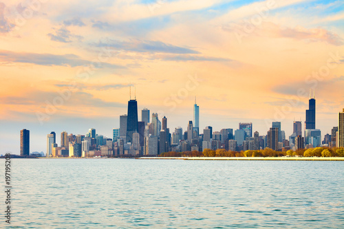 Poster Chicago Downtown city skyline of Chicago at dawn, Illinois, USA