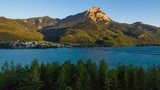 Timelapse of Savines-le-Lac, Grand Morgon Peak and the Serre-Poncon Lake from sunset to twilight. Hautes-Alpes, Southern french Alps, France