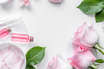 organic cosmetic with rose oil on white background top view © 279photo