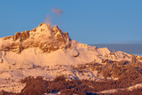 Sunset on Chabrieres Needles (Aiguilles de Chabrieres) in Winter. Ecrins National Park, Hautes-Alpes, French Alps, France - 197207425