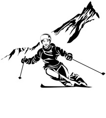Ski resort poster with black and white character. Vector illustration. © sergeygerasimov