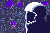 Astronaut in open space with stars and planets on background. Vector illustration.